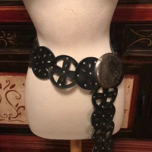 Plus size black belt with silver buckle